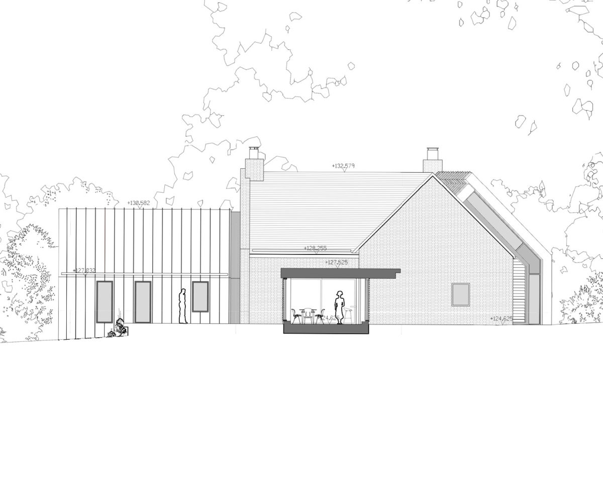Side elevation of Red Oaks (Para 79). Designed by Hawkes Architecture, this energy efficient grand design, follows passive house principles.