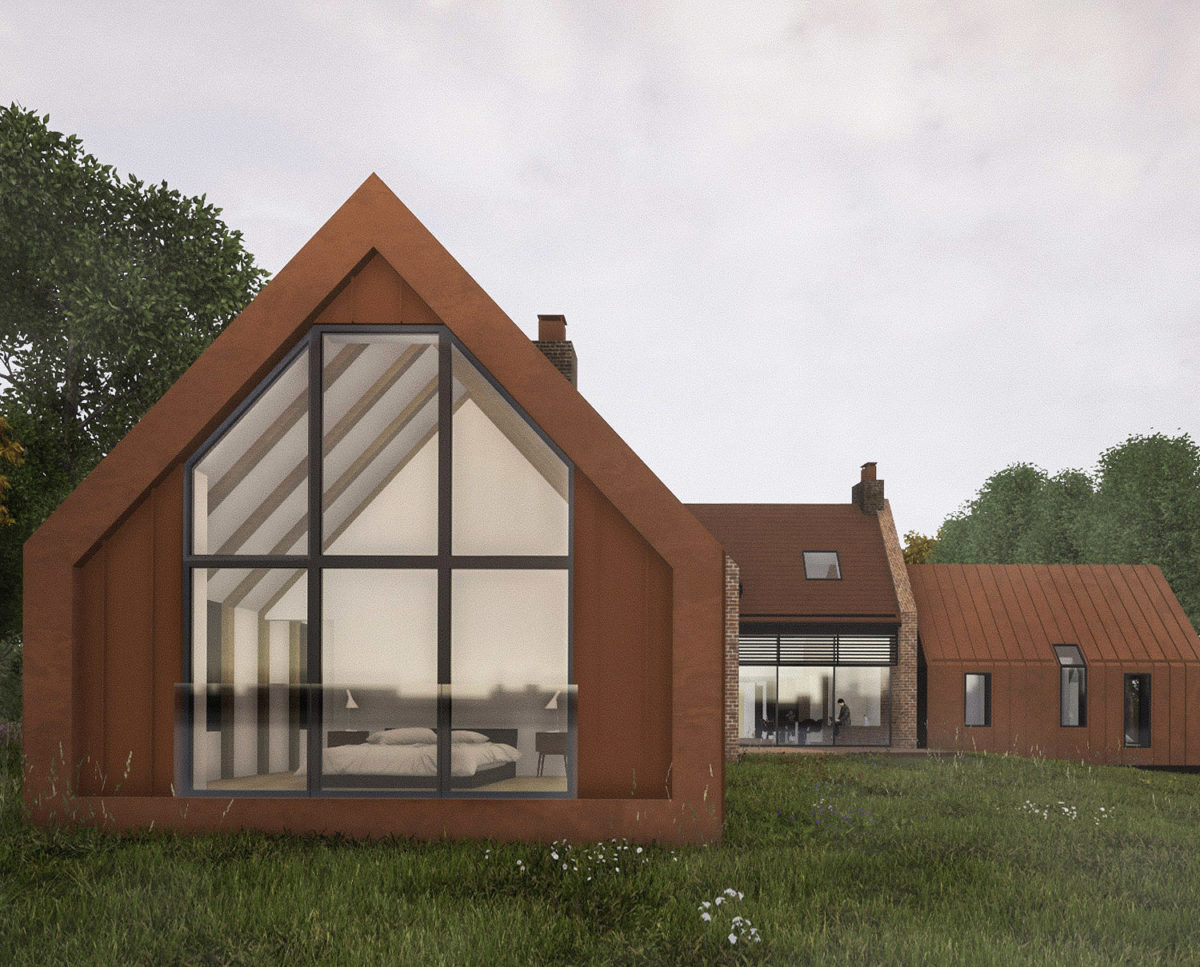 Wide elevation of Red Oaks (Para 134). Designed by Hawkes Architecture, this energy efficient grand design, follows passive house principles.