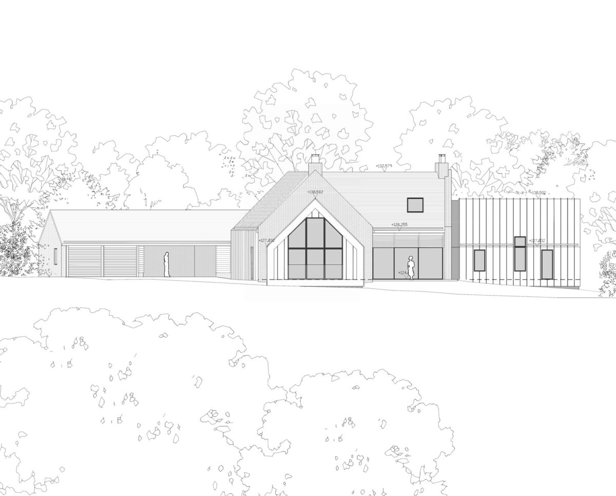 Wide elevation drawing of Red Oaks (Para 134). Designed by Hawkes Architecture, this energy efficient grand design, follows passive house principles.