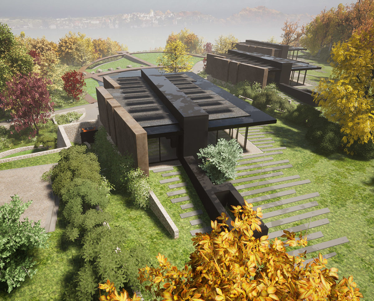Aerial view of Stone Woods (Para 79). Designed by Hawkes Architecture, this energy efficient grand design, follows passive house principles.