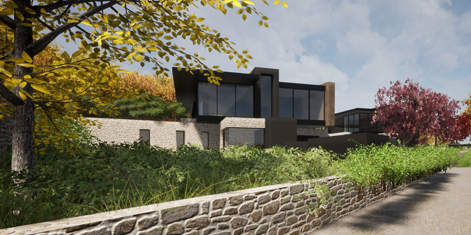 Entrance of Stone Woods (Para 80). Designed by Hawkes Architecture, this energy efficient grand design, follows passive house principles.