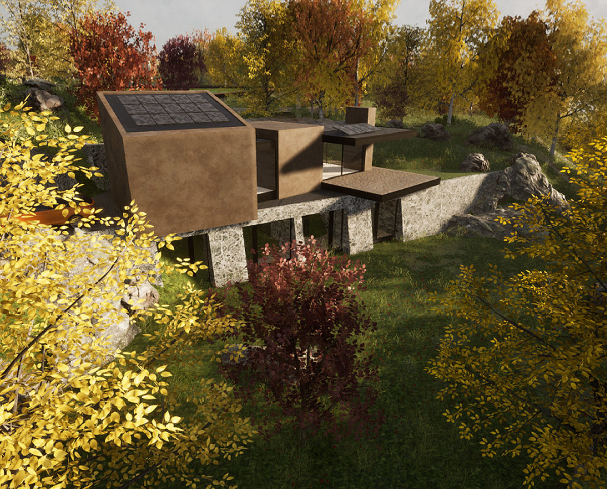 Gardens of Stone Woods (Para 80). Designed by Hawkes Architecture, this energy efficient grand design, follows passive house principles.