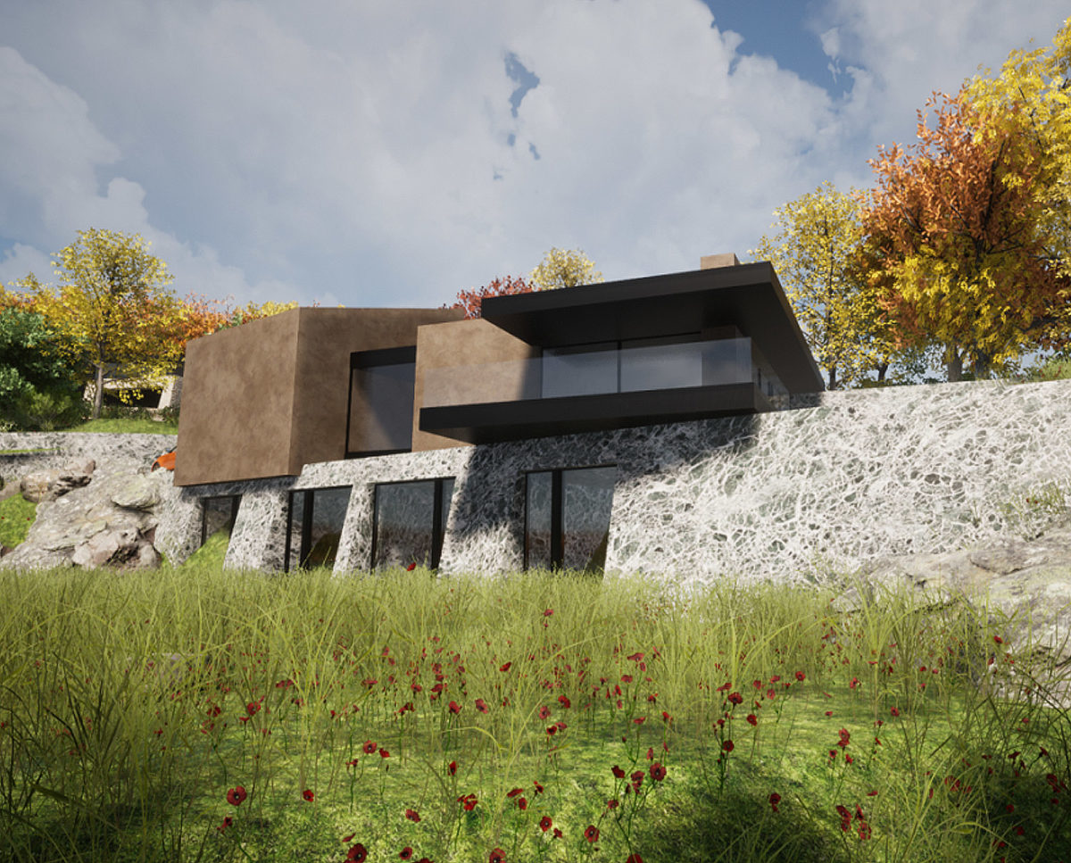 Quarry view of Stone Woods (Para 80). Designed by Hawkes Architecture, this energy efficient grand design, follows passive house principles.