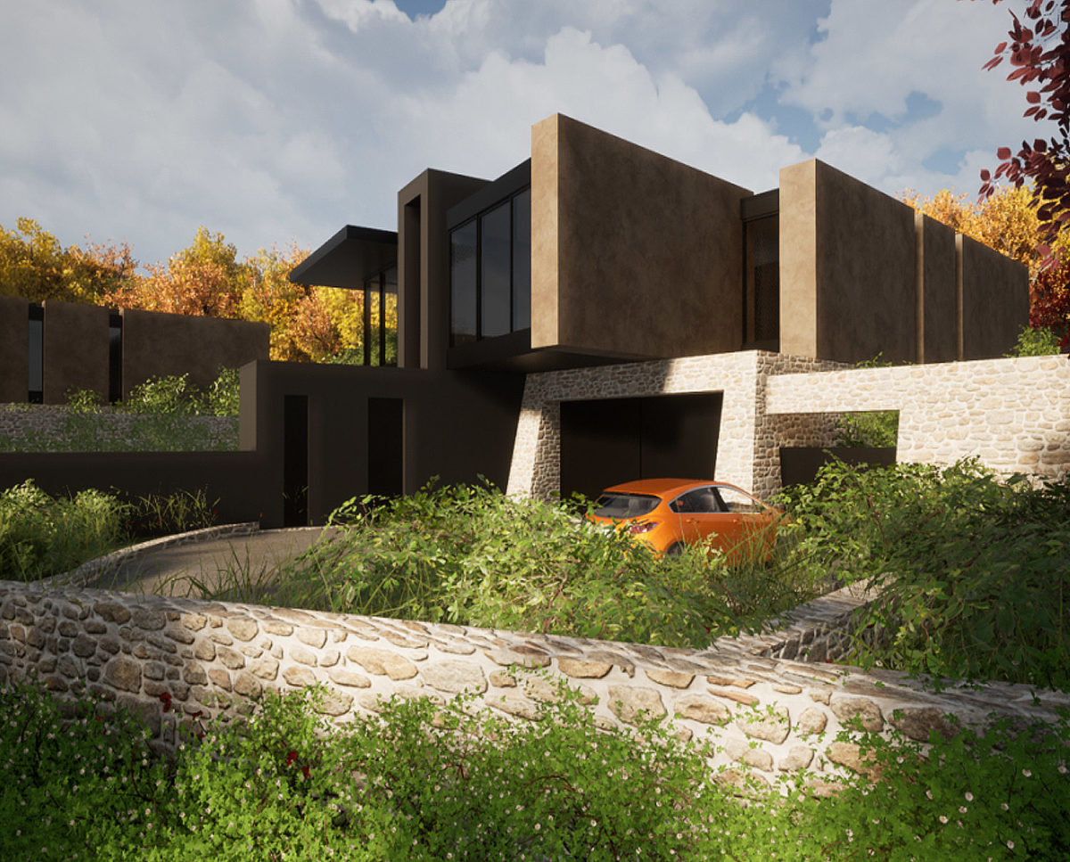 South elevation of Stone Woods (Para 80). Designed by Hawkes Architecture, this energy efficient grand design, follows passive house principles.