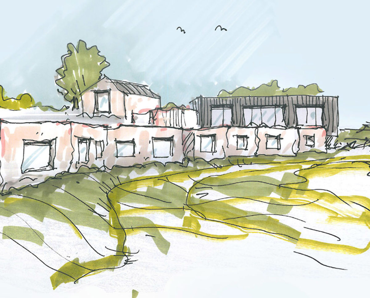 Artists impression of Tunwold (Para 80). Designed by Hawkes Architecture, this energy efficient grand design, follows passive house principles.