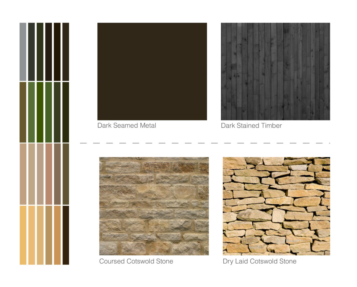 Design pallet for Tunwold (Para 79). Designed by Hawkes Architecture, this energy efficient grand design, follows passive house principles.