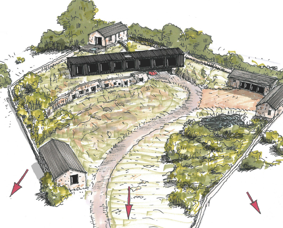 Detailed sketch of Tunwold (Para 79). Designed by Hawkes Architecture, this energy efficient grand design, follows passive house principles.