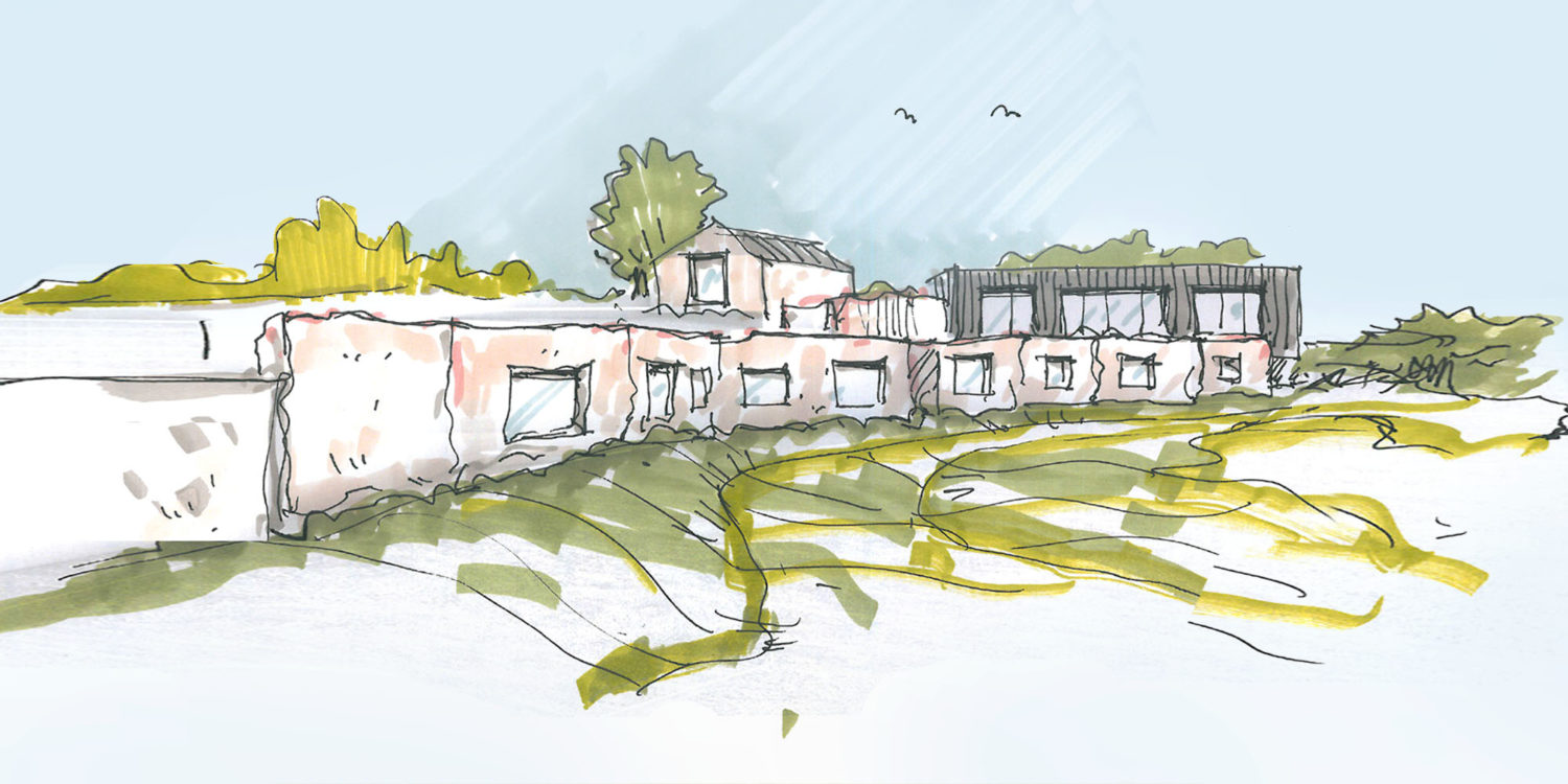 Sketch of Tunwold (Para 79). Designed by Hawkes Architecture, this energy efficient grand design, follows passive house principles.