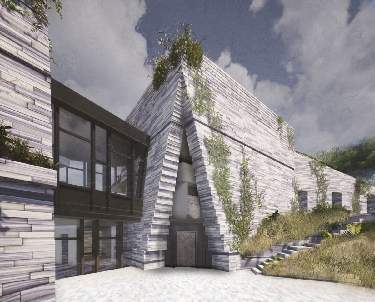 The main entrance of The Chalk Pit (Para 80). Designed by Hawkes Architecture, this energy efficient grand design, follows passive house principles.