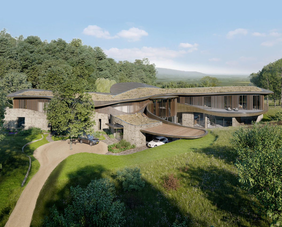 Aerial view and main entrance of Valley View (Para 79). Designed by Hawkes Architecture, this energy efficient grand design, follows passive house principles.