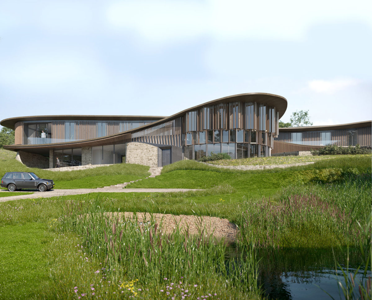 Arrival elevation of Valley View (Para 79). Designed by Hawkes Architecture, this energy efficient grand design, follows passive house principles.