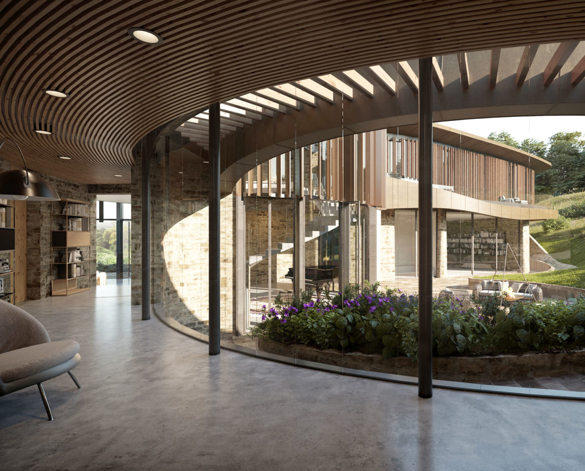 The courtyard of Valley View (Para 79). Designed by Hawkes Architecture, this energy efficient grand design, follows passive house principles.
