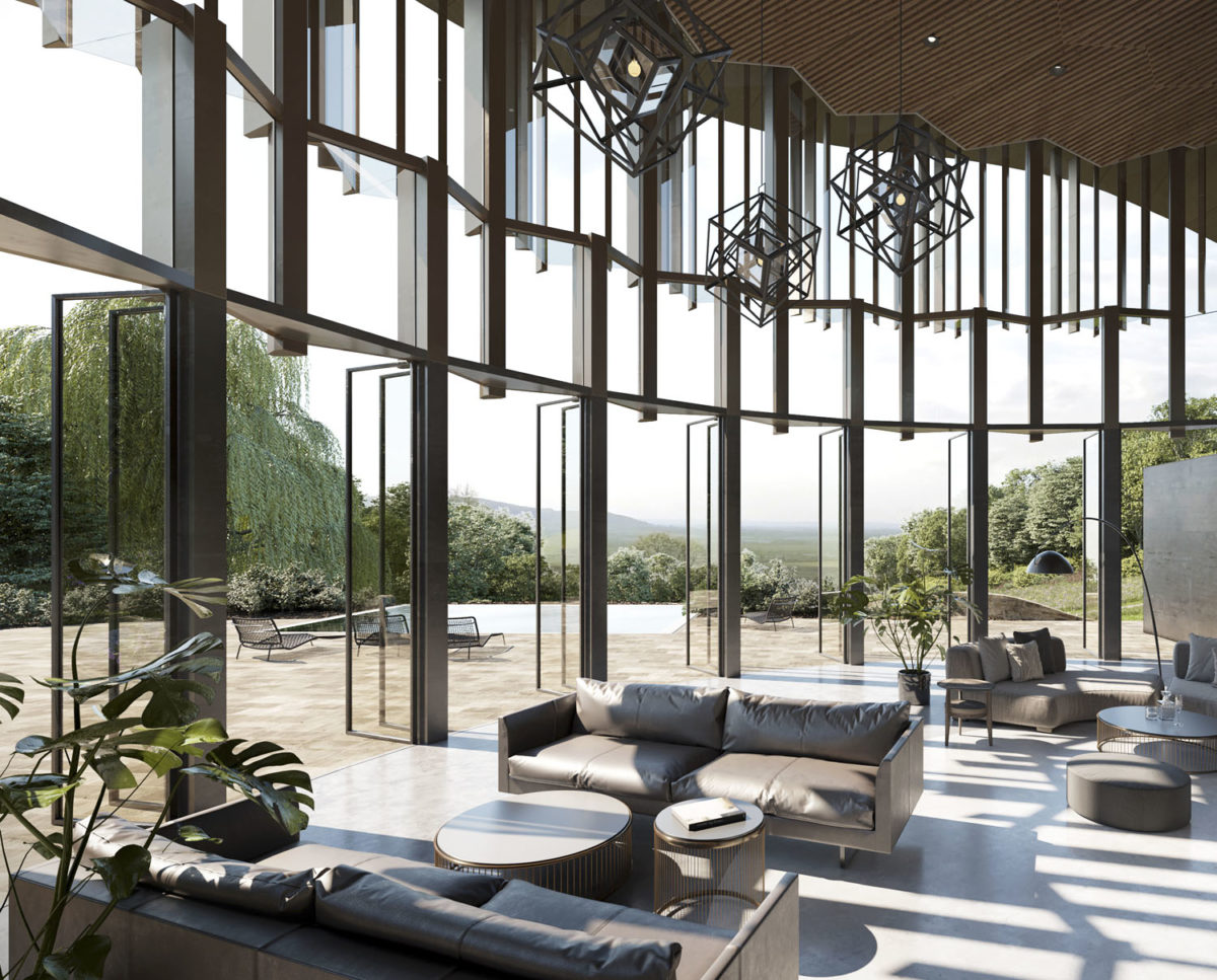 Glazed sun room of Valley View (Para 79). Designed by Hawkes Architecture, this energy efficient grand design, follows passive house principles.
