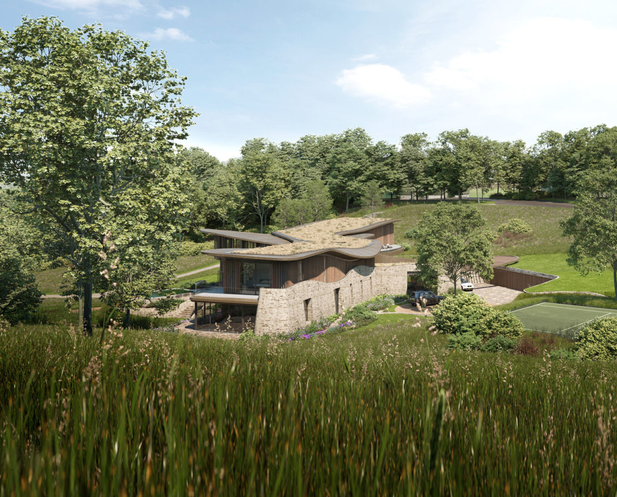 The living roof of Valley View (Para 79). Designed by Hawkes Architecture, this energy efficient grand design, follows passive house principles.