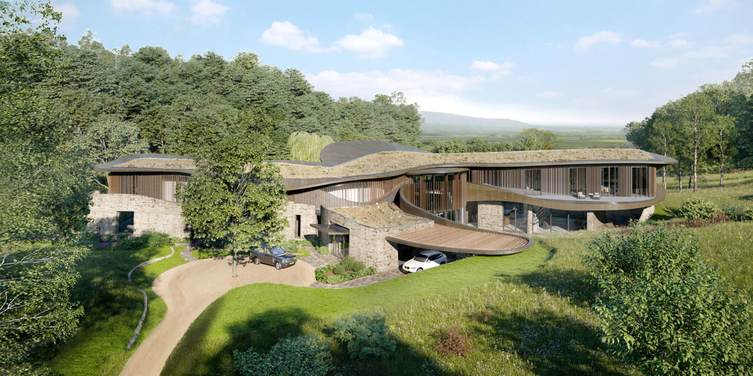 Aerial view of Valley View (Para 79). Designed by Hawkes Architecture, this energy efficient grand design, follows passive house principles.