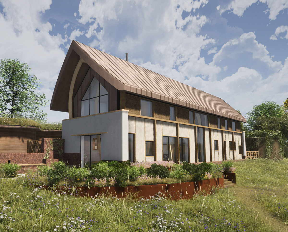 Side elevation of The Linhay (Para 79). Designed by Hawkes Architecture, this energy efficient grand design, follows passive house principles.