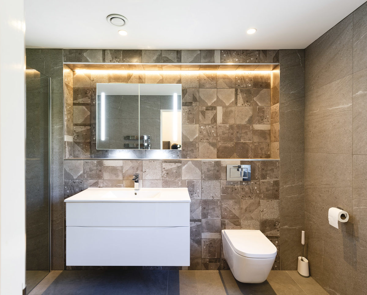 Bathroom of Brooks Barn (Para 55). Designed by Hawkes Architecture, this energy efficient grand design, follows passive house principles.