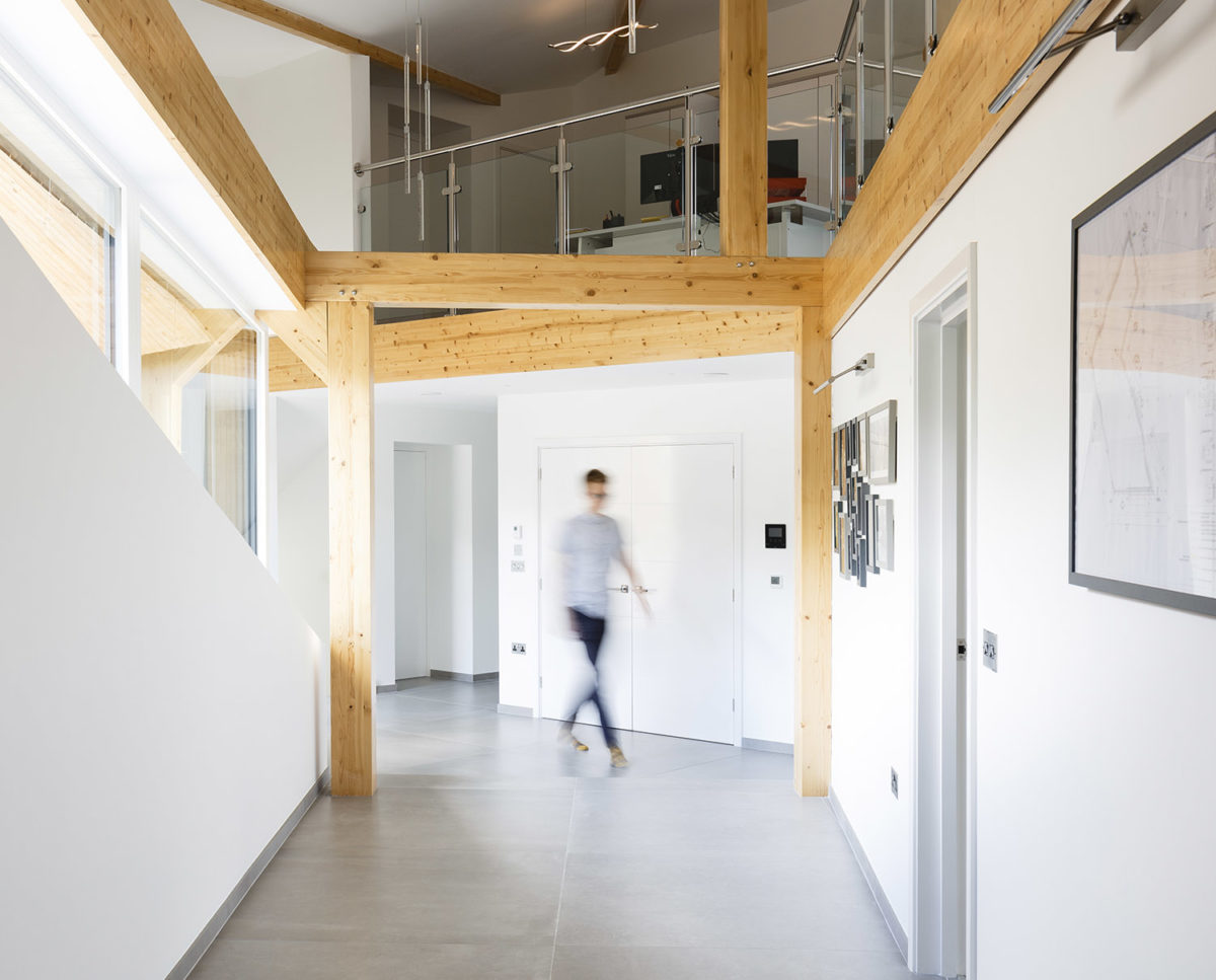 Interior of Brooks Barn (Para 55). Designed by Hawkes Architecture, this energy efficient grand design, follows passive house principles.