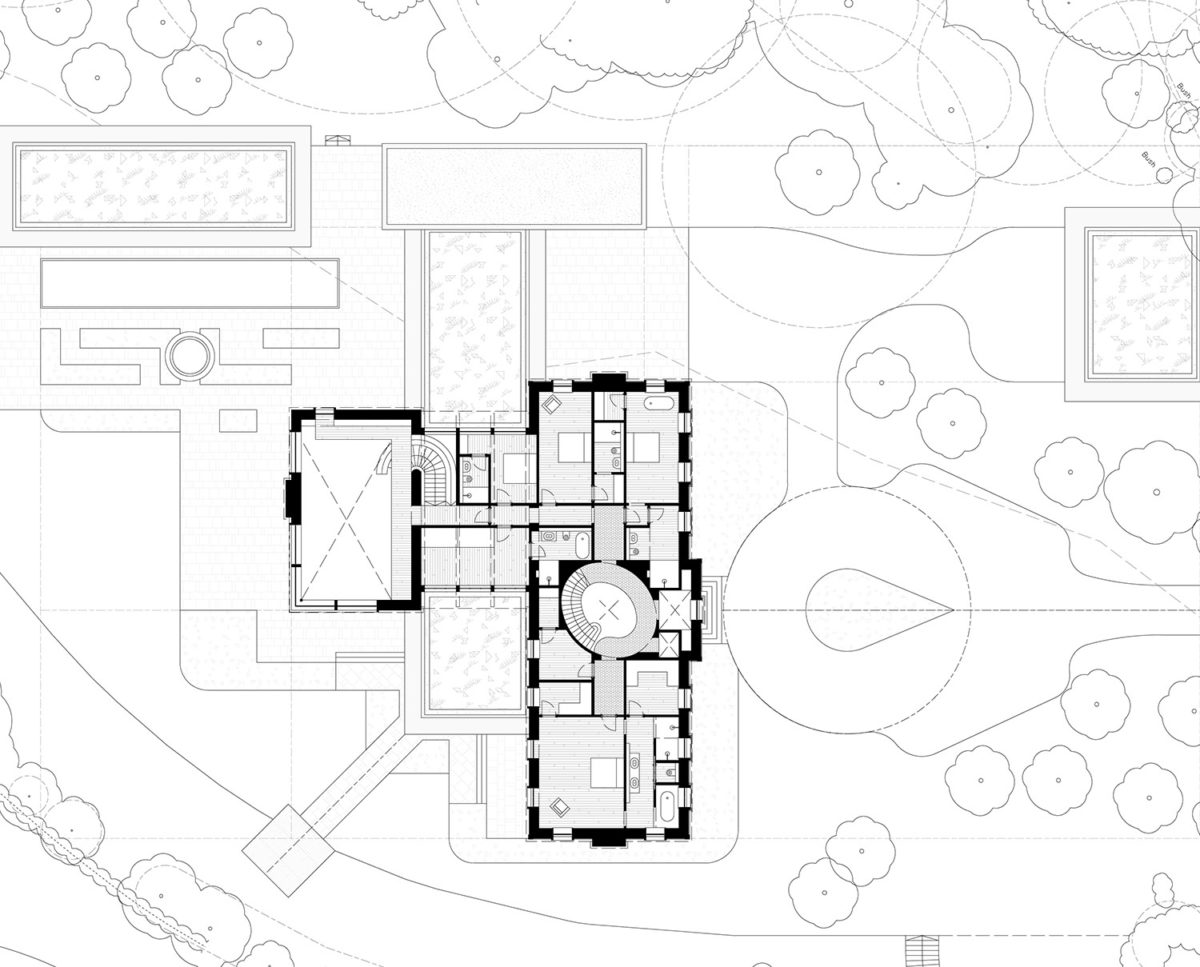 First Floor Plan of Winchester a New Build (Para 79). Designed by Hawkes Architecture, this energy efficient grand design, follows passive house principles.