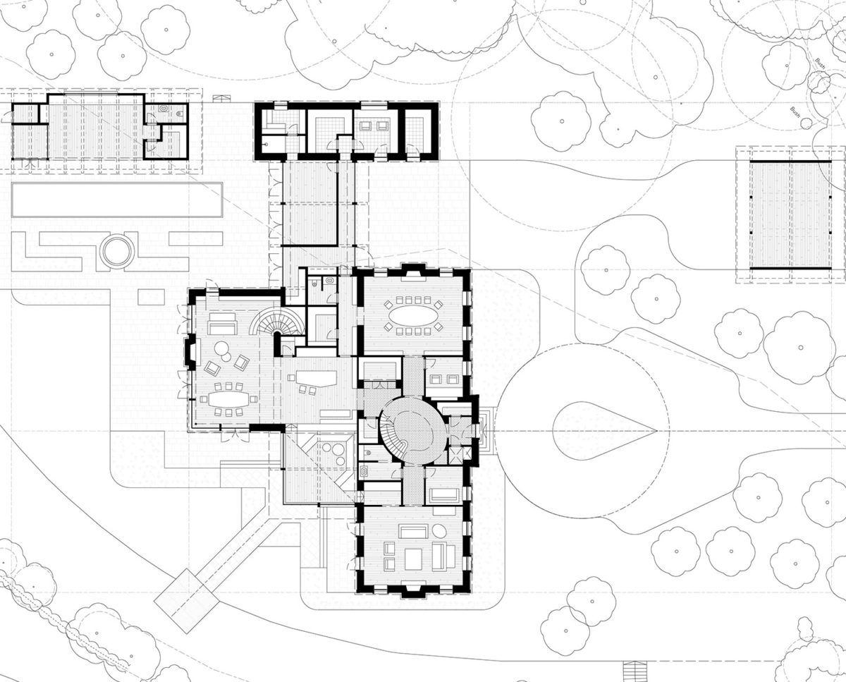 Ground Floor Plan of Winchester a New Build (Para 79). Designed by Hawkes Architecture, this energy efficient grand design, follows passive house principles.