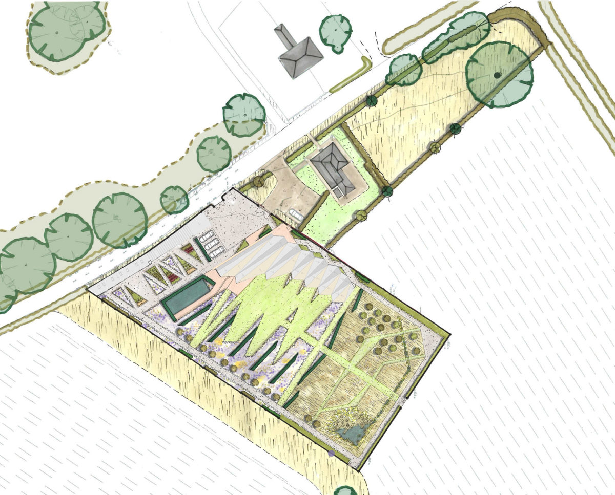 Aerial plan of Rural Faversham (Para 80). Designed by Hawkes Architecture, this energy efficient grand design, follows passive house principles.