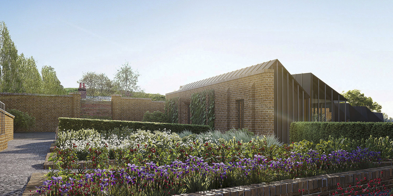 Rear elevation of Rural Faversham (Para 80). Designed by Hawkes Architecture, this energy efficient grand design, follows passive house principles.