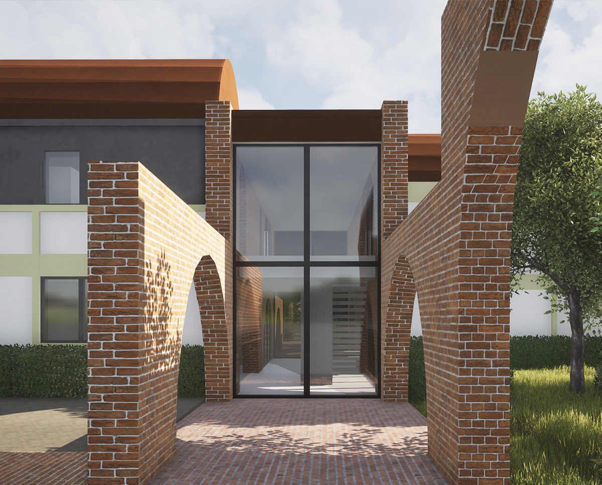 Exterior brick footpath of Friars Bourne (Para 80). Designed by Hawkes Architecture, this energy efficient grand design, follows passive house principles.