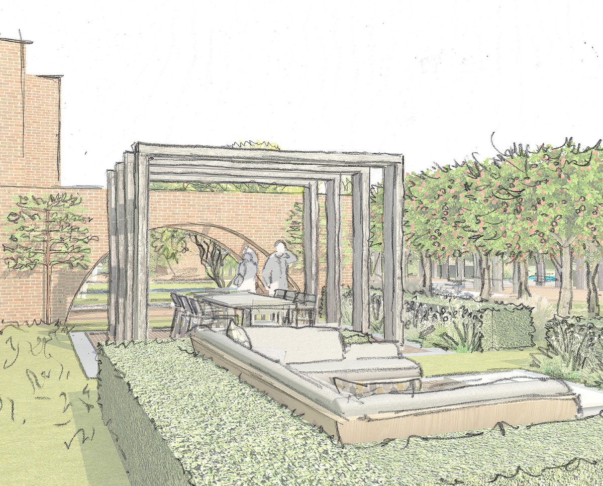 Orchard sketch of Friars Bourne (Para 80). Designed by Hawkes Architecture, this energy efficient grand design, follows passive house principles.