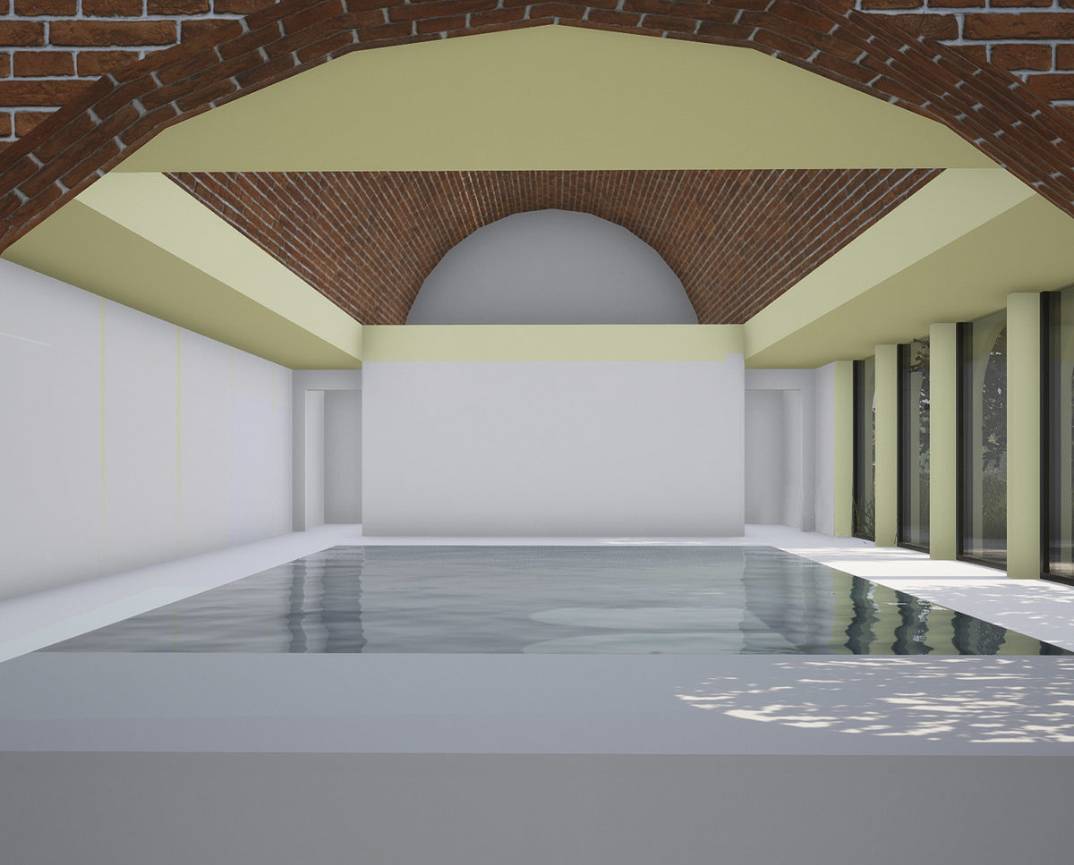 Indoor pool of Friars Bourne (Para 80). Designed by Hawkes Architecture, this energy efficient grand design, follows passive house principles.