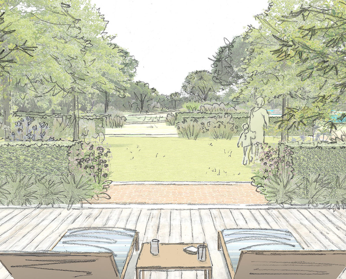 Pool terrace sketch of Friars Bourne (Para 80). Designed by Hawkes Architecture, this energy efficient grand design, follows passive house principles.