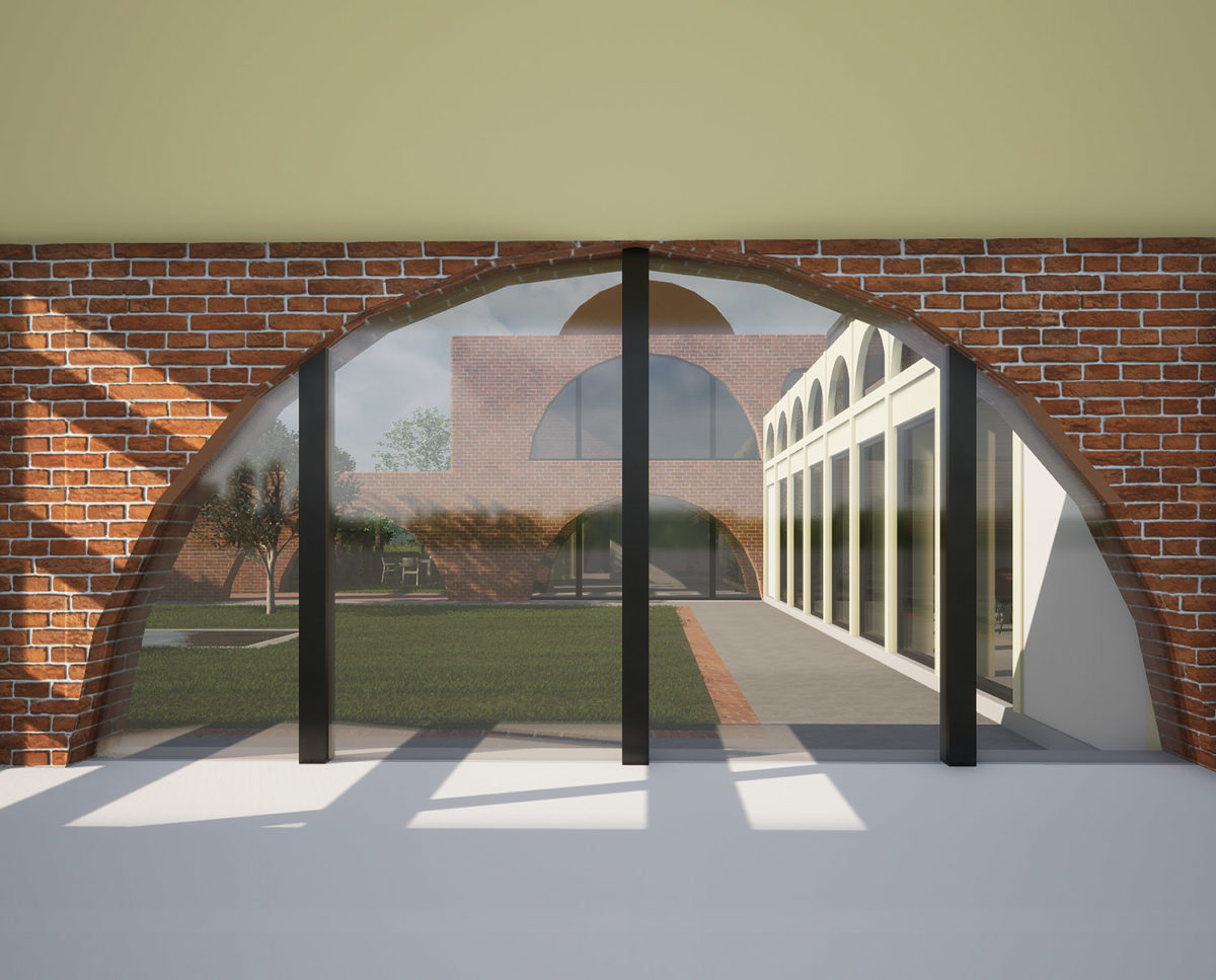 Interior arched window of Friars Bourne (Para 80). Designed by Hawkes Architecture, this energy efficient grand design, follows passive house principles.