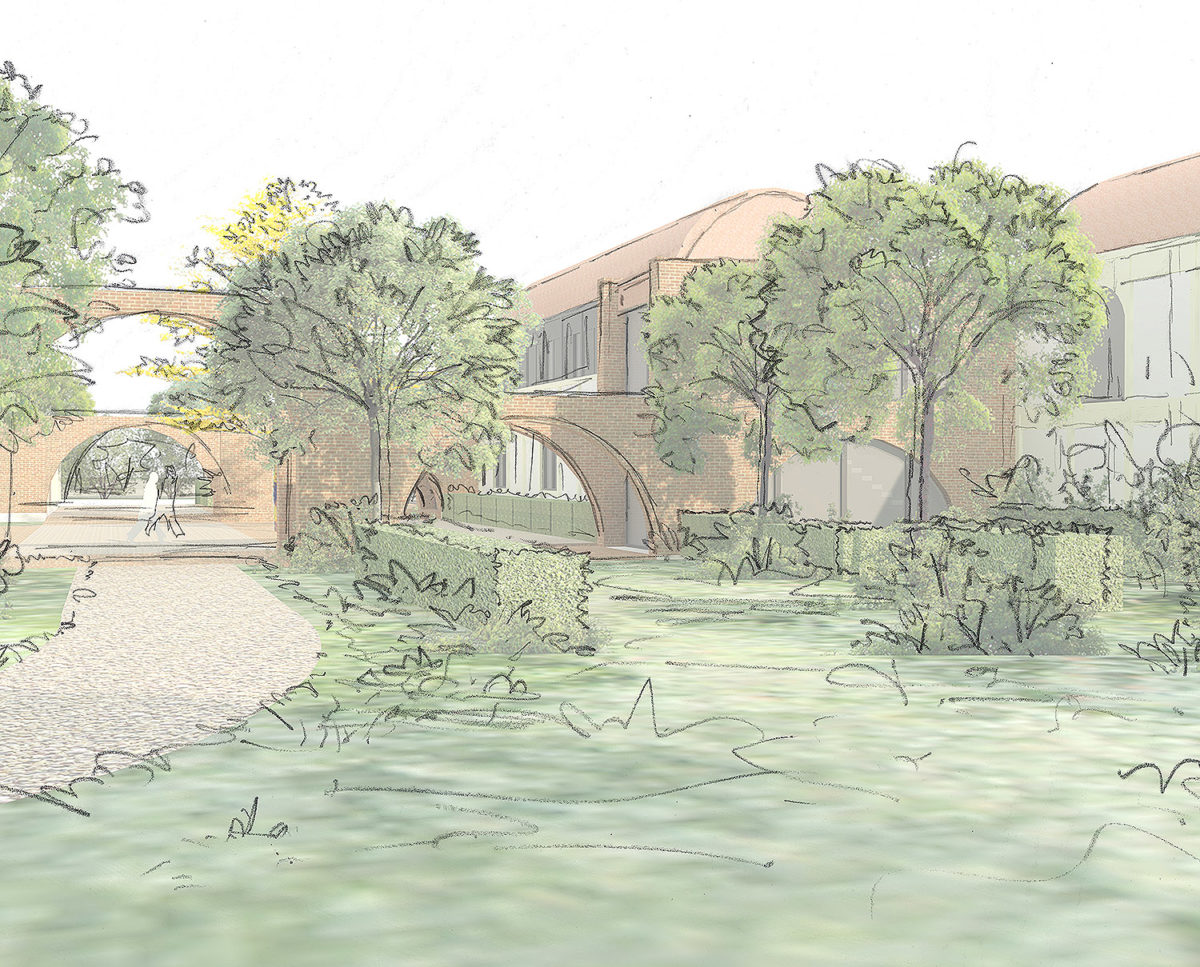 Exterior sketch of Friars Bourne (Para 80). Designed by Hawkes Architecture, this energy efficient grand design, follows passive house principles.