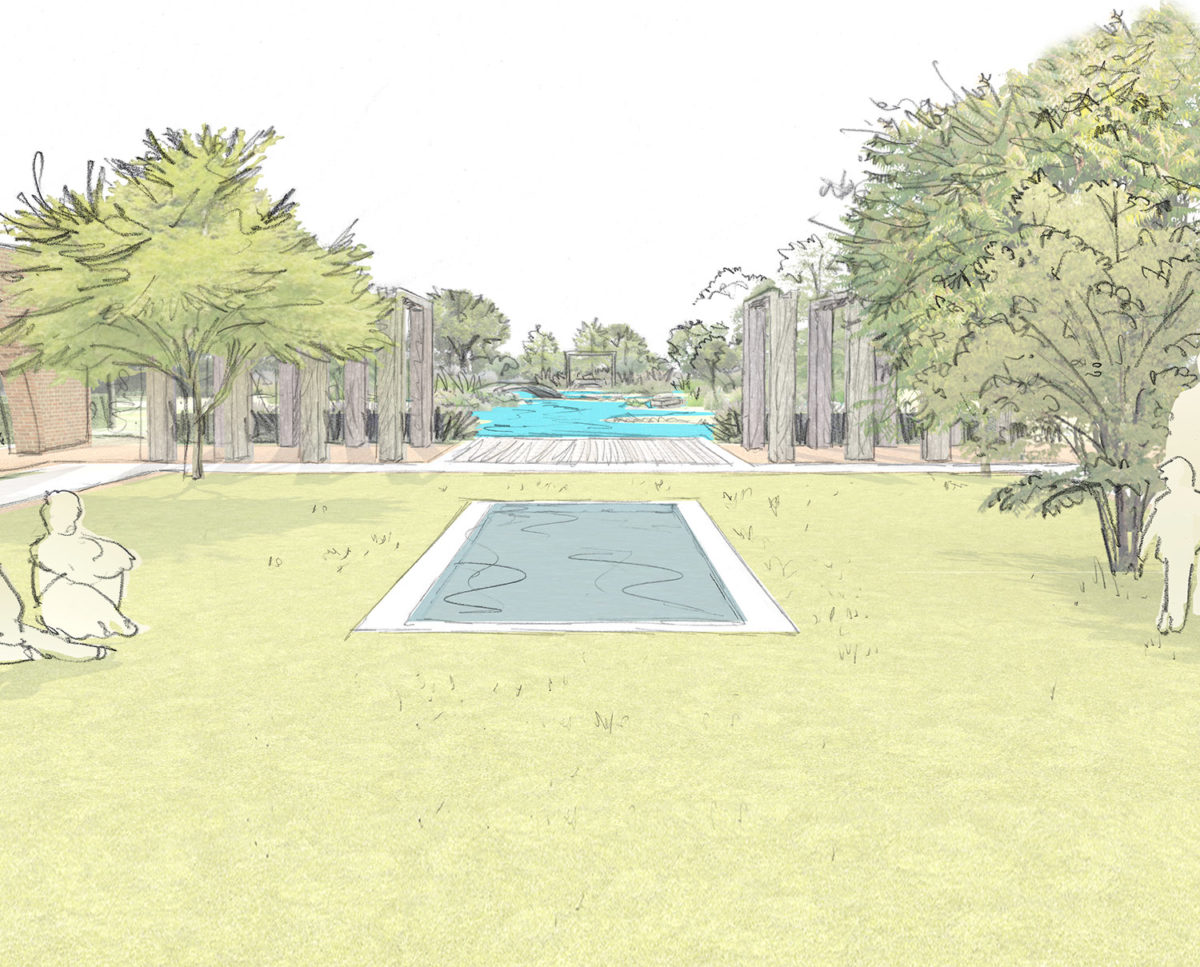 Garden water feature sketch of Friars Bourne (Para 80). Designed by Hawkes Architecture, this energy efficient grand design, follows passive house principles.