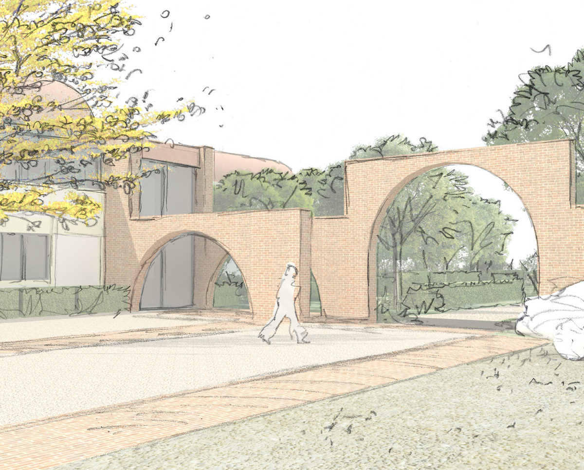 Courtyard sketch of Friars Bourne (Para 80). Designed by Hawkes Architecture, this energy efficient grand design, follows passive house principles.