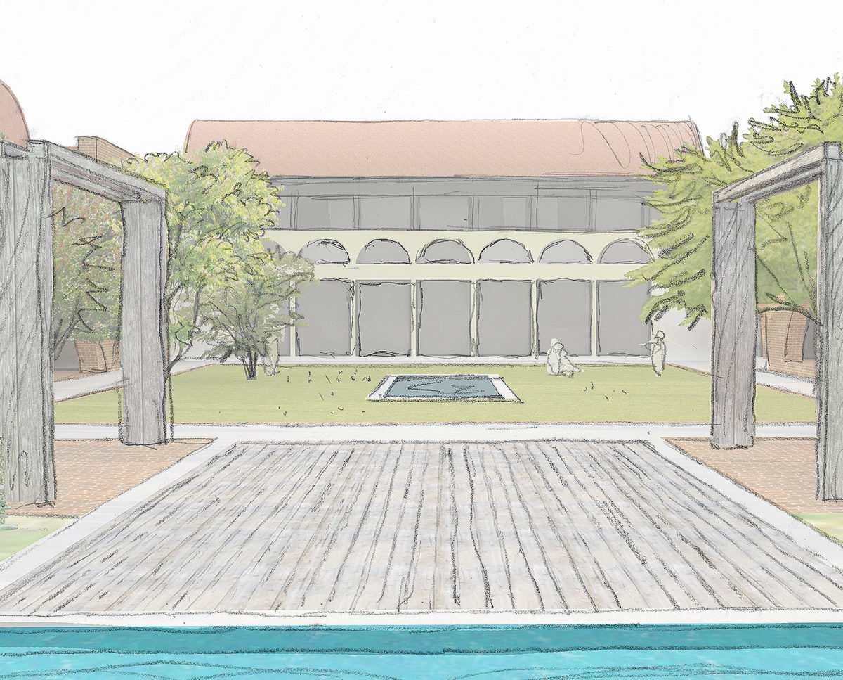 Pool view of Friars Bourne (Para 80). Designed by Hawkes Architecture, this energy efficient grand design, follows passive house principles