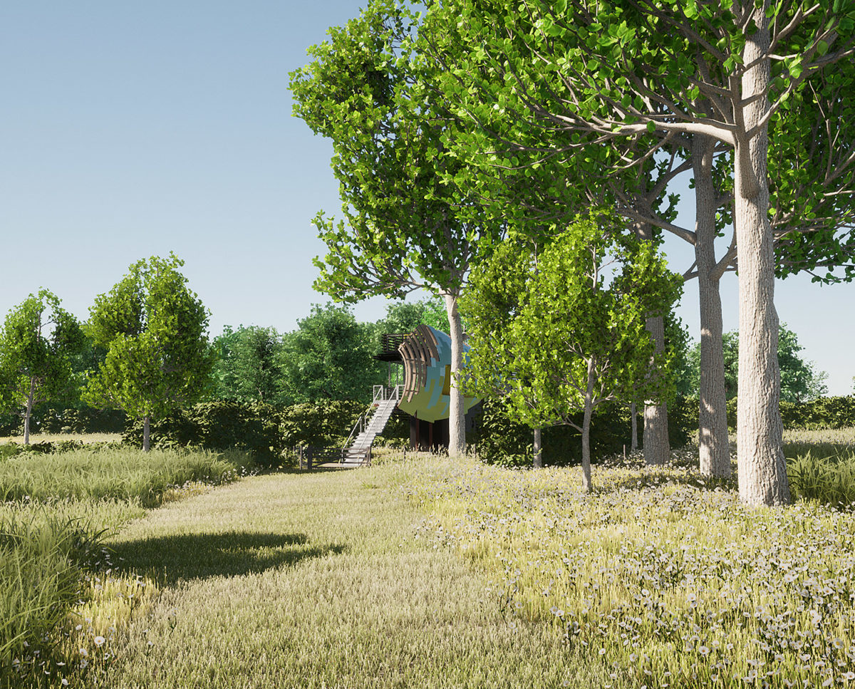 Garden view of Mossie (Para 80). Designed by Hawkes Architecture, this energy efficient grand design, follows passive house principles.