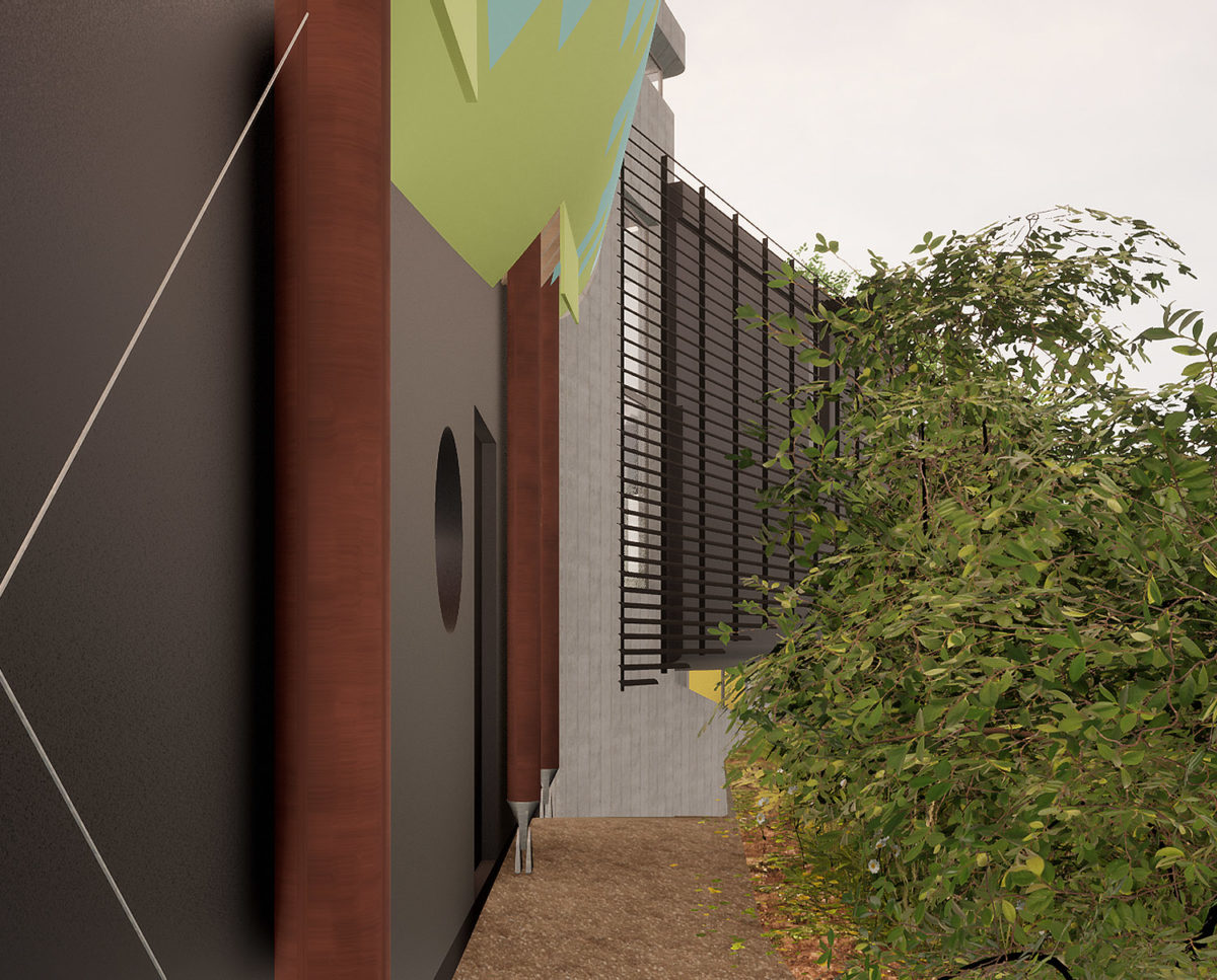 Side elevation of Mossie (Para 80). Designed by Hawkes Architecture, this energy efficient grand design, follows passive house principles.