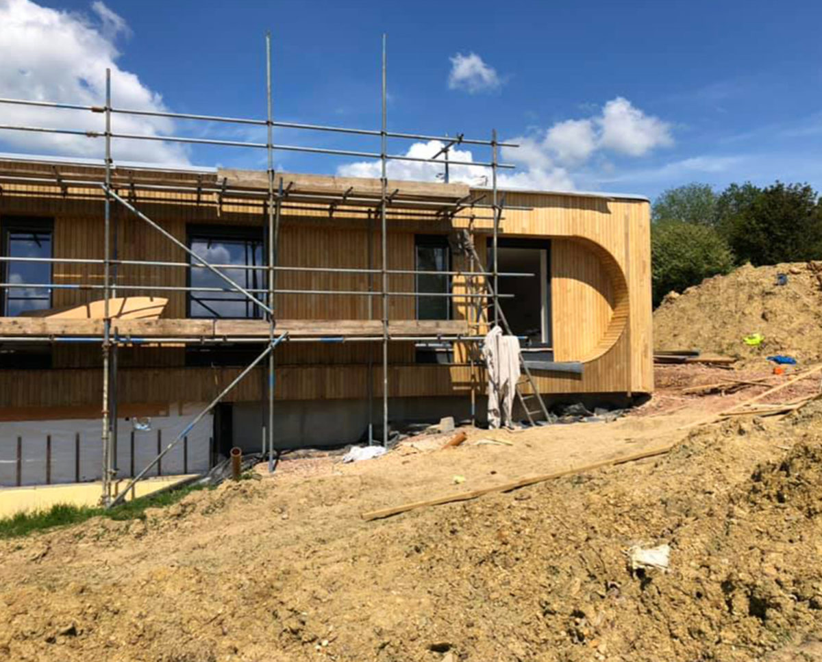 Construction underway at Lake house (Para 79). Designed by Hawkes Architecture, this energy efficient grand design, follows passive house principles.