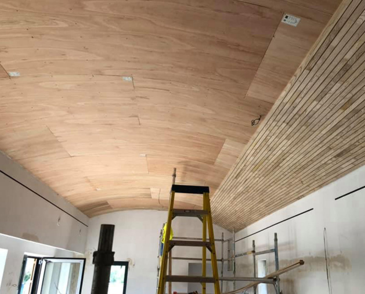 Interior ceiling of Lake house (Para 79). Designed by Hawkes Architecture, this energy efficient grand design, follows passive house principles.