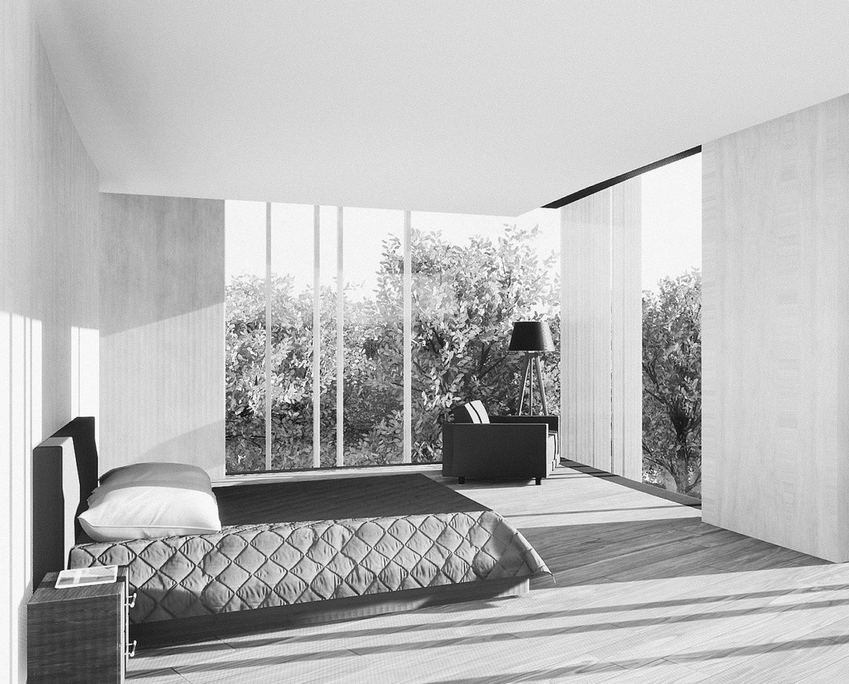 First floor bedroom of Lilley Brook (Para 80). Designed by Hawkes Architecture, this energy efficient grand design, follows passive house principles.
