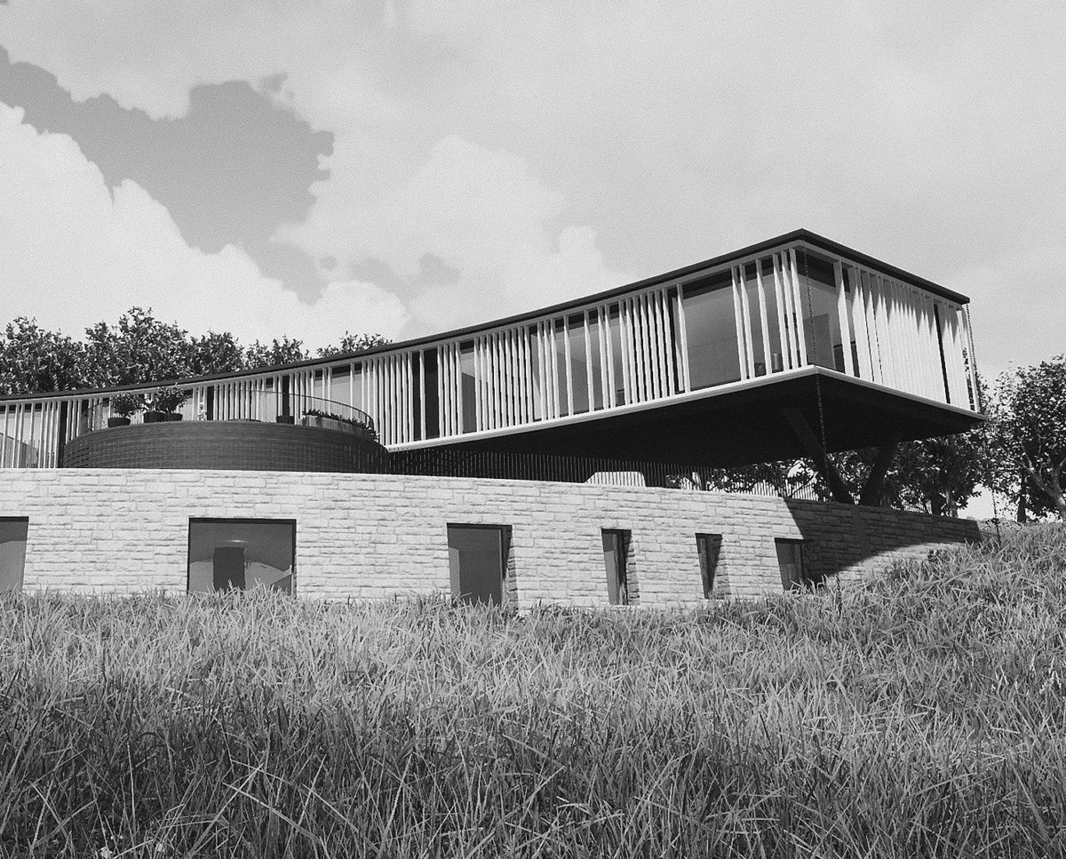 Exterior view of Lilley Brook (Para 80). Designed by Hawkes Architecture, this energy efficient grand design, follows passive house principles.