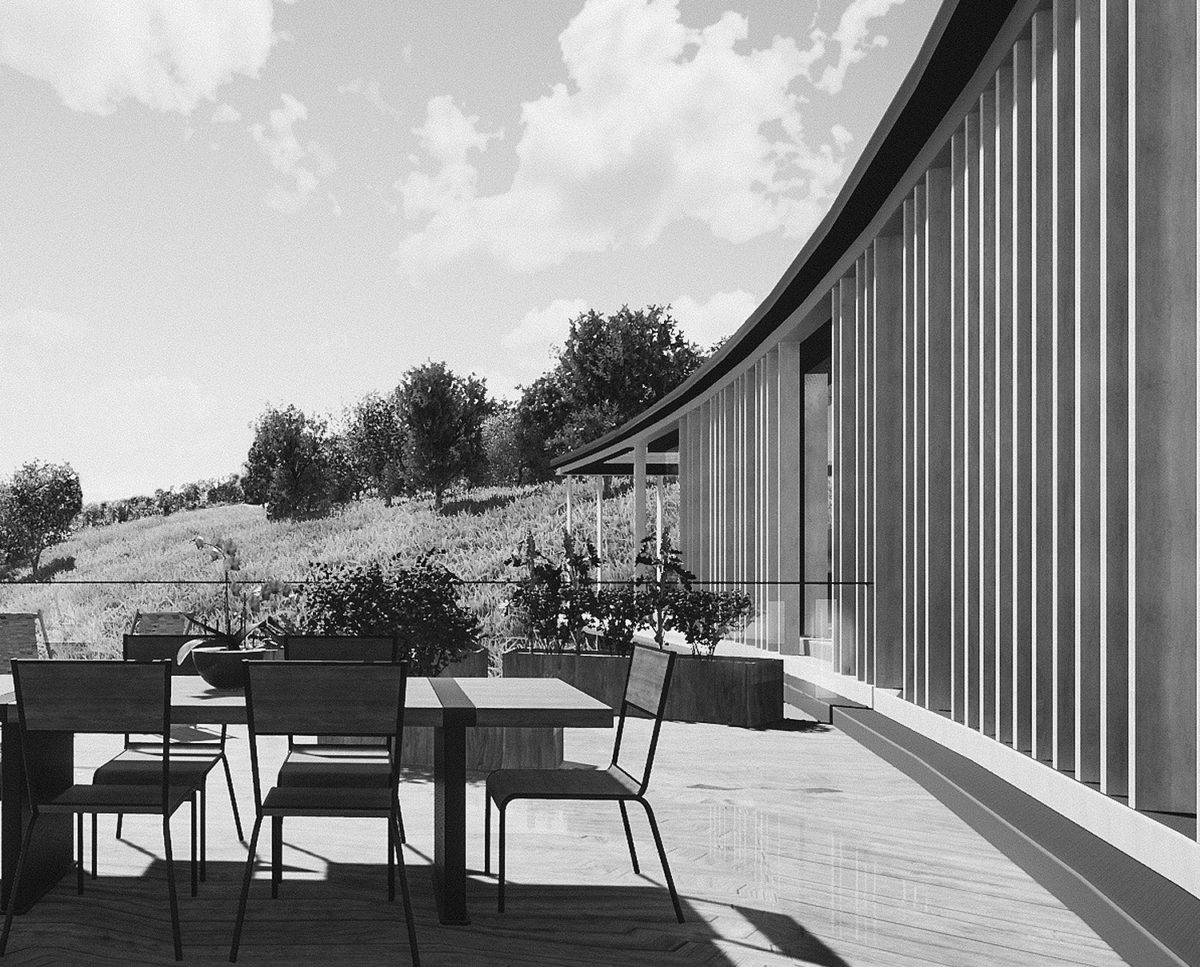 Balcany of Lilley Brook (Para 80). Designed by Hawkes Architecture, this energy efficient grand design, follows passive house principles.