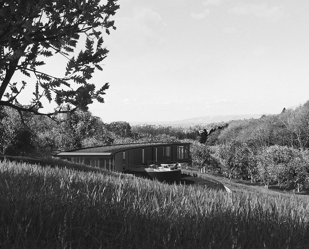 Landscape view of Lilley Brook (Para 80). Designed by Hawkes Architecture, this energy efficient grand design, follows passive house principles.