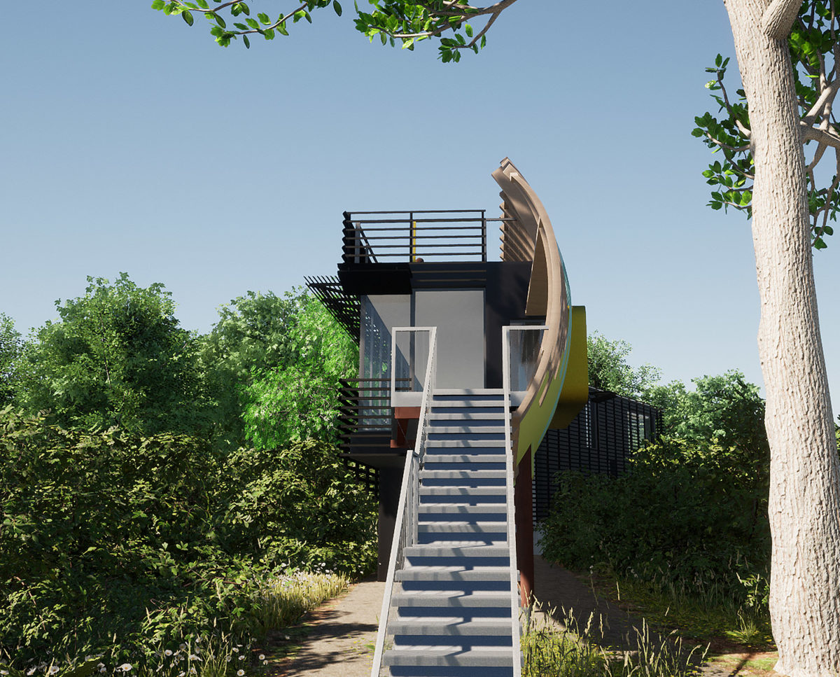 Front view of Mossie (Para 80). Designed by Hawkes Architecture, this energy efficient grand design, follows passive house principles.