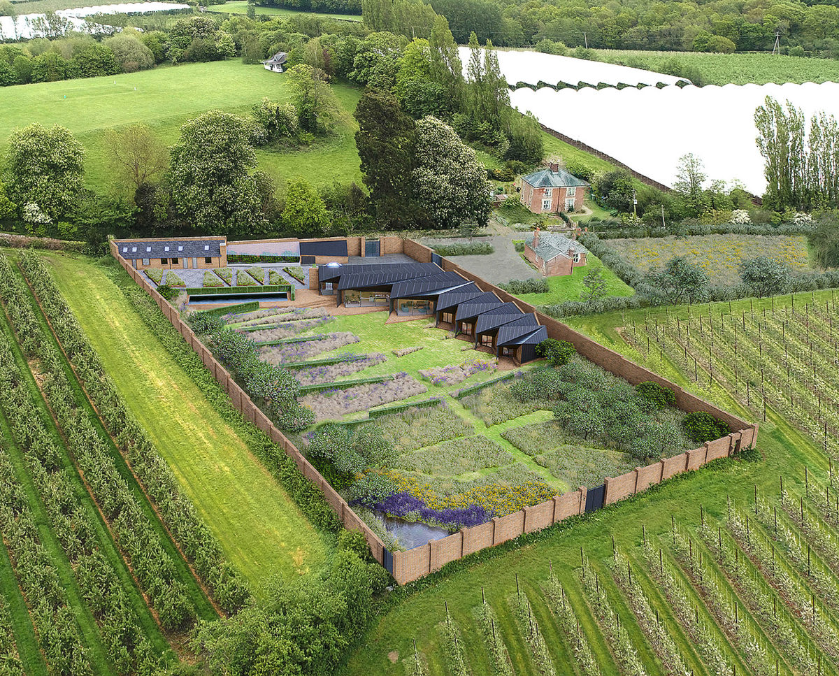 Aerial view of Rural Faversham (Para 80). Designed by Hawkes Architecture, this energy efficient grand design, follows passive house principles.