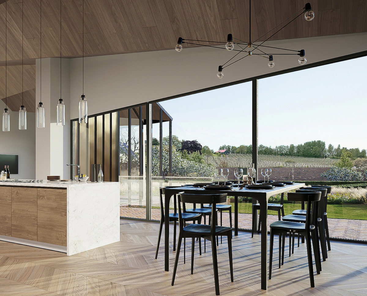 The kitchen at Rural Faversham (Para 80). Designed by Hawkes Architecture, this energy efficient grand design, follows passive house principles.