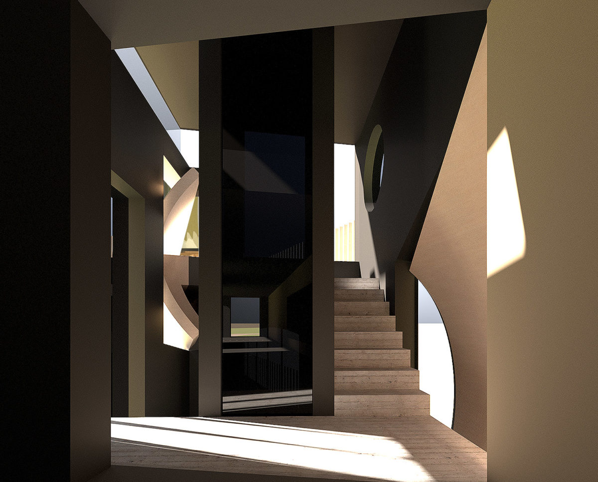 Stairway of Mossie (Para 80). Designed by Hawkes Architecture, this energy efficient grand design, follows passive house principles.
