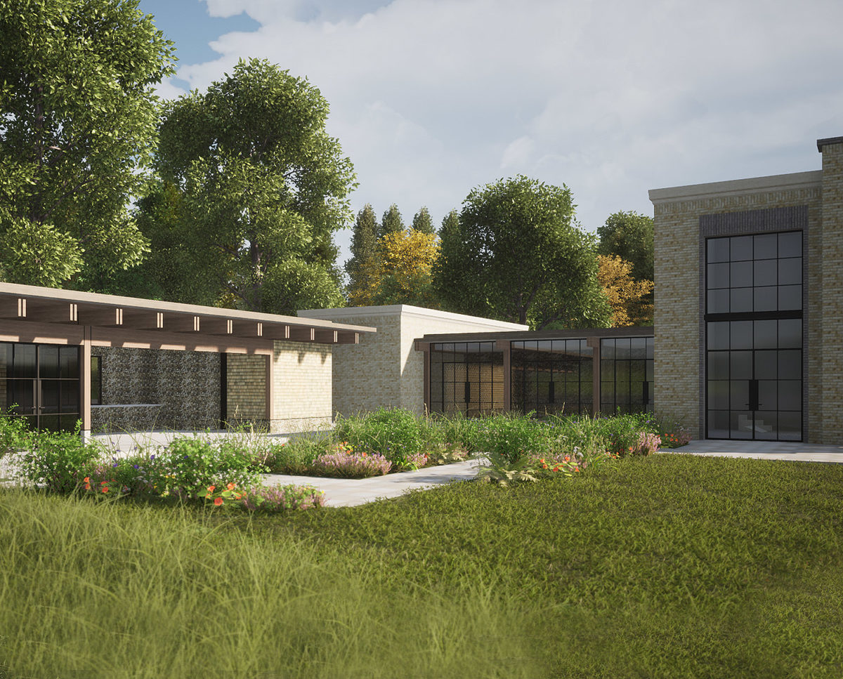 Garden view of Winchester a New Build (Para 79). Designed by Hawkes Architecture, this energy efficient grand design, follows passive house principles.