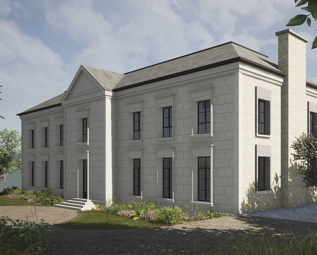 Entrance side view of Winchester a New Build (Para 79). Designed by Hawkes Architecture, this energy efficient grand design, follows passive house principles.