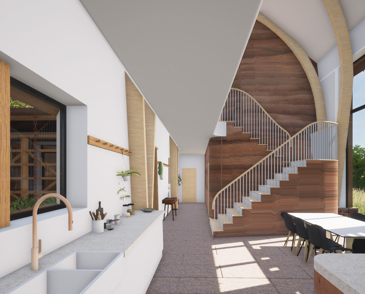 Ground floor interior of The Linhay (Para 80). Designed by Hawkes Architecture, this energy efficient grand design, follows passive house principles.